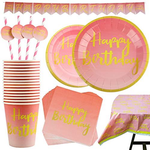 Servizio da Tavola Feste di Compleanno a Tema Rosa e Oro Include Banner Piatti Tazze Cannucce Tovaglioli e Tovaglie Serve 20 Persone