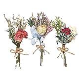UFLF 3pcs Mini Ramos de Flores Rosas Naturales Secas Flores Secas Decorativas Rosas Preservadas para Regalos Decoración Regalos MiniJarrón Boda Fiesta Mesa Manualidad DIY