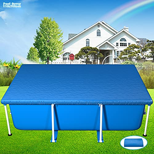 Burxoe Pool Cover,Rectangle Swimming Pool Cover for 9.8ft X 6.6ft (118in X 79in)Above Ground Pool,Rectangular Frame Pool Covers Protector Waterproof Dustproof Rainproof for Inflatable Pool(300X201cm)