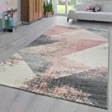 Paco Home Area Rug Abstract Geometric Pattern Fashionably Faded in Multicolor Pink Cream Gray Blue, Size:5'3' x 7'7'