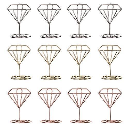 Nuluxi Tischkartenhalter Fotohalter Diamant Form Kartenhalter Platzkartenhalter Memohalter Sitzkartenhalter Tischnummernhalter Kartenhalter Grußkartenhalter Tisch Dekoration für Hochzeits Geburtstags