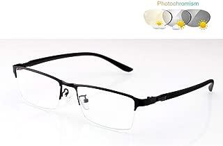 ZTM Multifocal Photochromic Reading Glasses - 1.56 aspheric Resin Lenses (Optical Quality) / Rectangular / TR90 Flexible with Branch (+1.00 to 3.00),Black,3.0