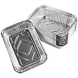 QUACOWW 30 Stück Aluschalen Grillschalen, Robuste Einweg-Schalen für den Grill & zum Warmhalten, Rechteckig Recyclebare Tropfschalen aus Aluminium, 21 x 14 x 3 cm, 650 ml