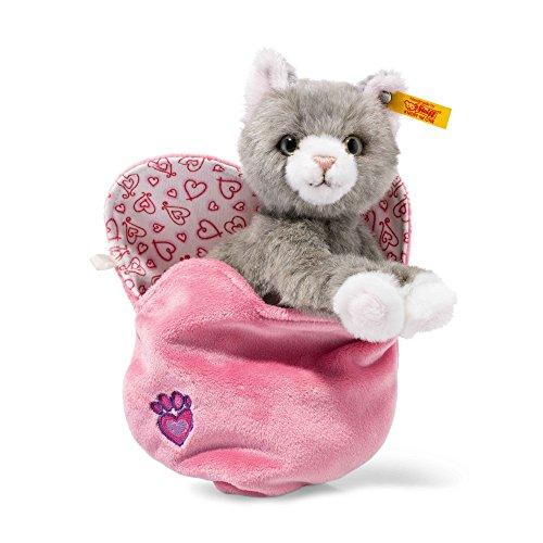 Steiff 99311 Cindy Katze im Herzbeutel, Plüschtier, grau-gestromelt, 14 cm