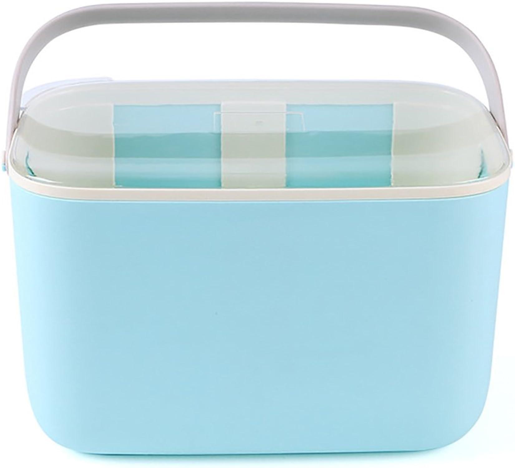 JI BIN SHOP Caja De Almacenamiento De Plástico Con Tapa Sello Caja De Almacenamiento De Leche En Polvo Para Biberón Con Una Caja De Desagüe De Secado Multipropósito 34x21x21.5cm  ( Color   Azul )