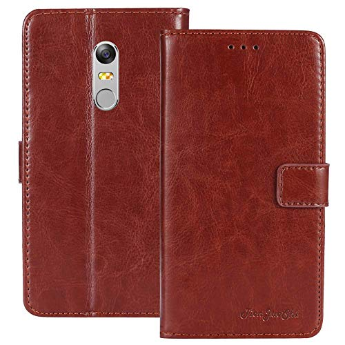 TienJueShi Brown Flip Book-Style Brief Leder Tasche Schutz Hulle Handy Hülle Abdeckung Fall Wallet Cover Etui Skin Fur TP-Link Neffos X1 Max 5.5 inch