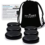 Massage Stones - Maxdee Essential Hot Stones for Massage, 6 Medium Hot Stones Massage Kit Hot Rocks Massage Stones for Professional or Home Spa, Foot Heater, Relaxing, Healing, Pain Relief, 2.4'