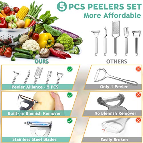 Qodalyth 5 Pcs Vegetable Peelers for Kitchen- Valued Potato Peelers Set for Fruit