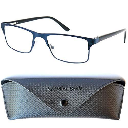 Metall Blaulichtfilter Lesebrille mit rechteckigen Gläsern, GRATIS Brillenetui, Edelstahl Rahmen (Dunkelblau sieht aus wie Schwarz), Eckige Anti Blaulicht Brille für Damen und Herren +2.0 Dioptrien