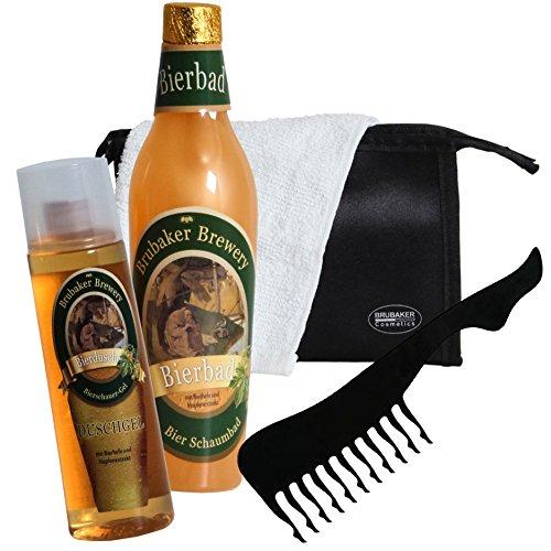 Brubaker–Juego de baño con extracto de cerveza–5 unidades–regalo ideal para hombre–conneceser de baño, toalla y peine sexy