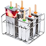 Stainless Steel Popsicle Molds. Popsicle Maker Set. BPA-Free & Eco-Friendly. 6 Ice Pop Molds + Popsicles Holder. Leak-Proof Silicone Seals. Square Design. Fast Freezing Ice Cream Maker by Kitzini