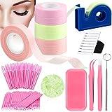 Eyelash Extension 6 Roll Lash Tape 100 Disposable Mascara Brush Wand Applicator 1 Makeup Mirror 1 Silicone Eyelash Pad 1 Dispenser Cutter 2 Tweezer 1 Jade Adhesive 1 Holder Pallet (Pink, Purple, Blue)