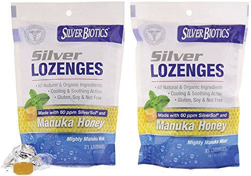 American Biotech Labs Silver Biotics Silver Lozenges w/60ppm SilverSol and Manuka Honey, Mighty Manuka Mint (21 Count) (2 Pack)