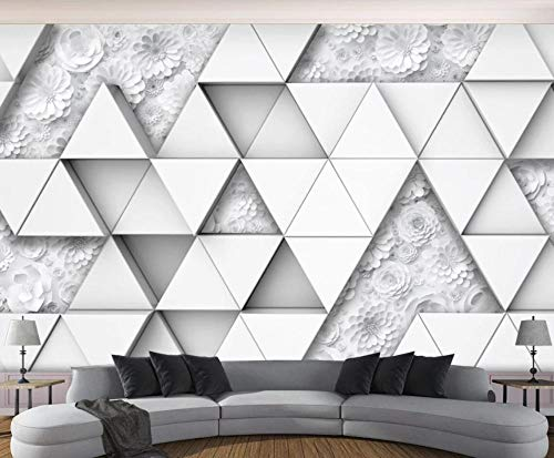 Papel Pintado 3D Triángulo De Flores De Origami Fotomurales Decorativos Pared 3D