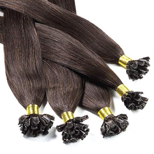hair2heart 25 x 0.5g Echthaar Bonding Extensions, glatt - 50cm - #4 braun, Keratin Haarverlängerung Bondings