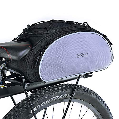 Roswheel 14541 Mountain Road Bike Bicycle Cycling Rear Seat Rack Trunk Bag Pack Pannier Carrier Shoulder Bag Handbag 13L (Black)