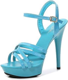 High-heeled sandals Womens Shoes Belt Buckle Sandals Women New Summer Fashion 13CM Sexy High Heels Model Catwalk Sandals 8 colors Size 34-43