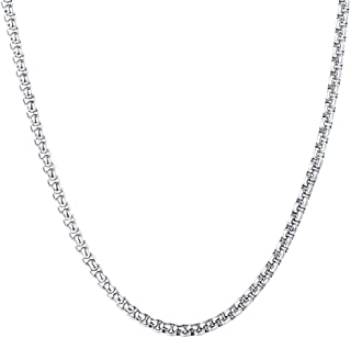 U7 2mm/3mm/6mm/7mm Box Chain Stainless Steel, 18K Gold Plated Flat/Square/Round Rolo Chain Necklace Bracelet Set, Length 18