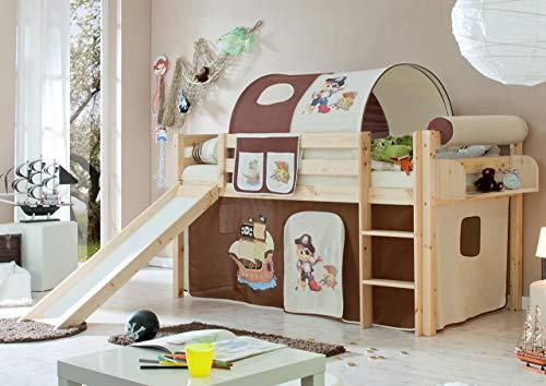 lifestyle4living Hochbett für Kinder in braun mit Rutsche, Vorhang im Piraten Motiv | Spielbett aus Kiefer Massivholz mit Einer Liegefläche 90x200 cm