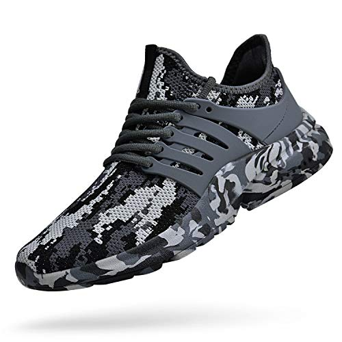 Feetmat Mens Running Tennis Work Shoes Slip On Resistant Sneakers Lightweight Breathable Athletic Fashion Zapatos Gym Sport Non Slip Casual Walking Shoes for Men Camouflage Grey 10