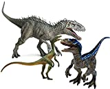3 Pcs Blue Indominus Rex and Compsognathus Jurassic Dinosaur World Toys Jumbo Dinosaur Figures with Movable Jaw for Dinosaur Lovers, Party Supplies,Cool Birthday Gifts to Kids 3-12 Years Old