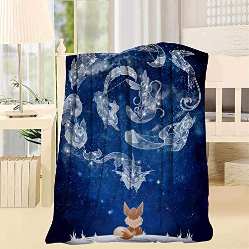 maichengxuan EEv-EE Evolution Galaxy Luxurious Fur Blanket Smooth Soft Print Throw/Twin Blanket for Sofa/Bed/Office Throw 40X50inch