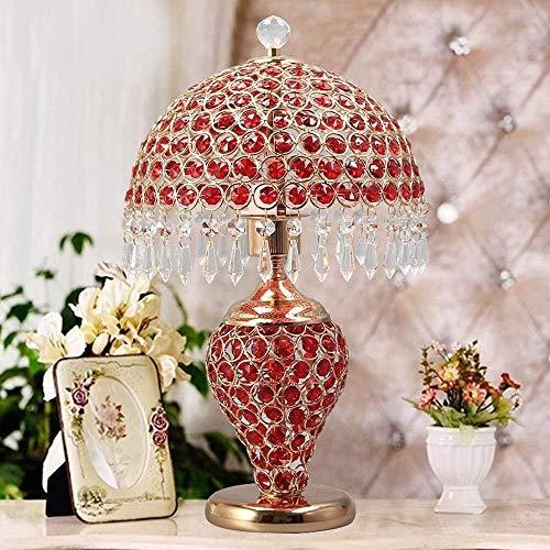 BICCQ Lámparas de Mesa Lámpara de Escritorio LED, Lujo, de Moda, con un Cuerpo diseñado de Cristal Completo y el Interruptor de botón para Dormitorio, Sala de Estar, decoración, Roj