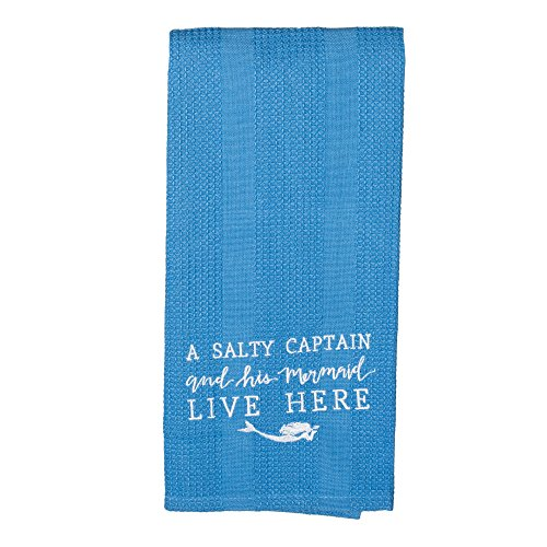 The Country House Collection Salty Captain and Mermaid Live Here 19 x 28 All Cotton Embroidered Waffle Kitchen Towel