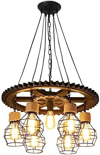 NYDZ Vintage Lampadari di Legno 7 luci della Corda Lampadari del Nastro Metallico della Gabbia Lampada a Sospensione Loft Rustico Luce di soffitto (Non includere Le lampadine)