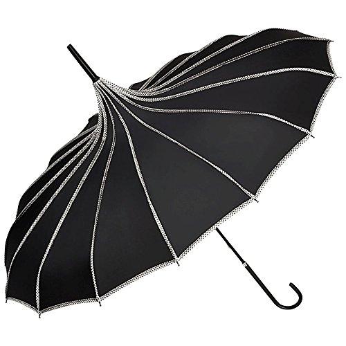 VON LILIENFELD Regenschirm Sonnenschirm Brautschirm Hochzeitsschirm Handöffner Pagode Ziernähte Justine schwarz
