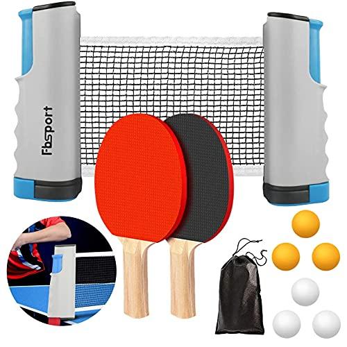 FBSPORT Sets de Ping Pong, Palas Ping Pong Set Professionales con 1 Red Retráctil, 2 Raquetas, 6 Pelotas, 1 Bolsa para Entrenadores Adultos Niños Interior Exterior