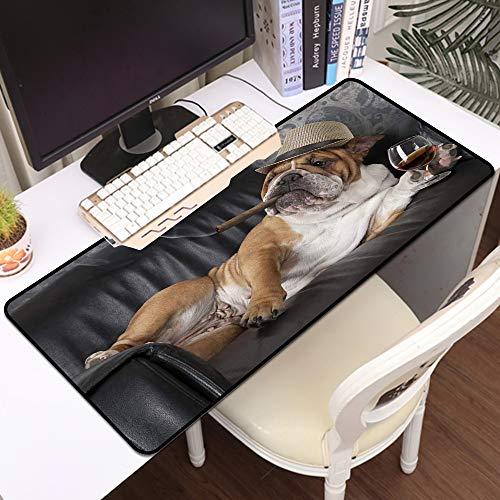 Gaming Mousepad Groß Mauspad,Humorvolle englische Bulldogge, die in einem schwarzen Ledersessel mit einer Zigarre und einem Gl,Komfort Mousepad - verbessert Präzision und Geschwindigkeit