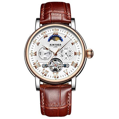 DTLEO Herren Automatische Uhren, Skeleton Tourbillon Mechanische Armbanduhr Mond Phase Wasserdicht Sport Lässig Chronograph Militär Uhr,Goldwhite
