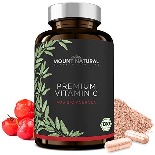 Bio Vitamin C (200 Kapseln) - Vergleichssieger 2019* - natürlich Bio zertifiziertes Acerola Extrakt - ohne Zusatzstoffe - Natürliche Flavonoide & Laborgeprüft Aus Deutschland