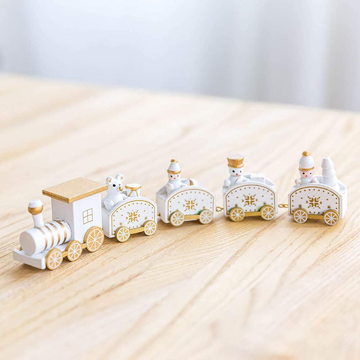 Iusun Christmas Tree Decorations Wooden Small Train Kids Gifts Toy Favor DIY Ornament Party New Year Decor Toys Playtime
