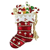 EVER FAITH Austrian Crystal Lovely Red Santa Stocking Candy Cane Brooch Gold-Tone