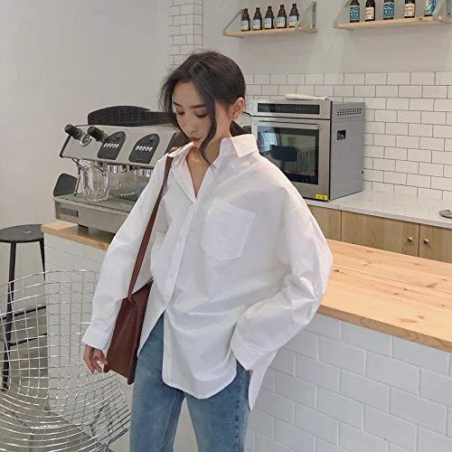 CDDKJDS Klasyczne Białe Koszule Dla Kobiet Plus Rozmiar Wiosna Jesień Kobiety Koszule Białe Plu Loosevize Bluzki Vintage Koszulki (Color : White, Size : M 45-50kg)