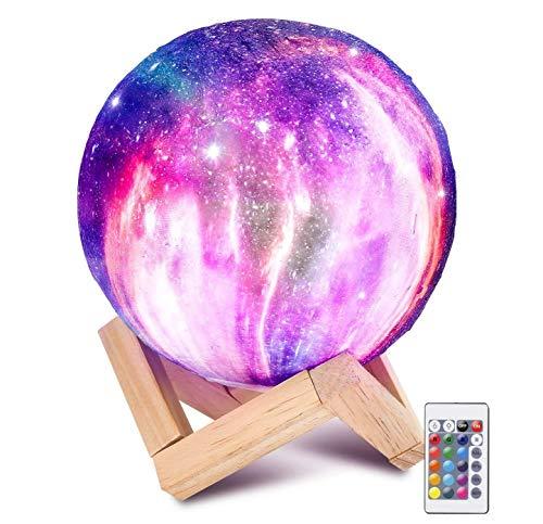 Laelr Lámpara de Luna, 16 Colores Impreso en 3D Luz de Luna llena USB Recargable LED Luz de Noche Lámpara de Mesa de Control Táctil para Niños Fiesta de Cumpleaños de Navidad