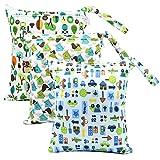 iZiv 3 Paquete Bebé Prueba de Agua Reutilizable Wet Dry Bag, Bolsas para Pañales, Reutilizable Impermeable Lavable Suspender Grandes Organizador Doble Cremallera Impresión Bolsa de Pañales