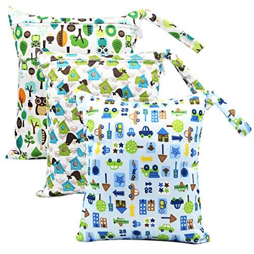 iZiv Wickeltasche, 3 Pcs Wetbag Organiser Beutel Naßtasche baby Wiederverwendbare Wasserdicht Waschbar Reißverschluss groß für Kleinkind Windeln Reisen Gym Strand Pool