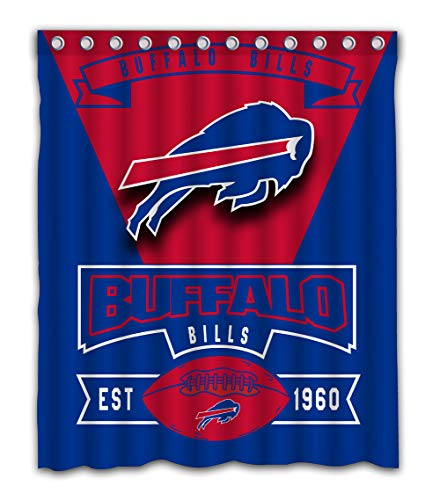 Weckim Custom Buffalo Football Team Waterproof Fabric Shower Curtain Colorful Design for Bathroom Decoration Size 60x72 Inches