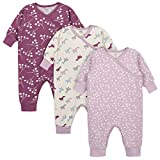 Grow by Gerber Baby Girls Organic 3-Pack Coverall Set, Pink/Ivory, 3-6 Months