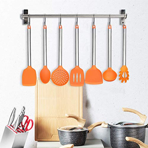 ANTOWIN Silicone Cooking Utensil Set, Kitchen Utensils (7 Pcs) Cooking Utensils Set, Non-stick Heat Resistant Silicone, Cookware with Stainless Steel Handle, Dishwasher Safe - Orange