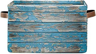 Doshine Panier de rangement pliable en bois bleu turquoise avec poignées, grand cube de rangement pour jouets, chambre d'e...