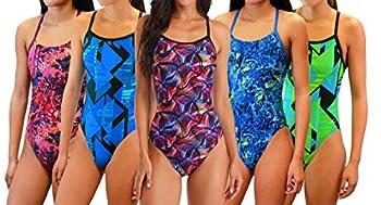 Adoretex Girl s/Women s Splash Cross Back Swimsuit  FN035  - Purple Combo - 34