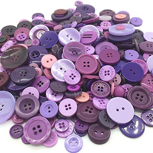 EMAAN 650 pieces of Various Sizes Resin Buttons 2 and 4 Holes Round Craft Buttons Sewing DIY Crafts Scrapbook Children's Handmade Button Painting Button Bouquet (Purple)