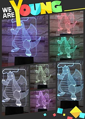 Nachtlampje Pokémon draak afstandsbediening touch afstandsbediening/kleur veranderende licht/nachtlamp/nieuwjaarsgeschenk/3D-fantoomlicht