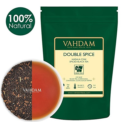VAHDAM, Double Spice Masala Chai Tea (100 Cups), STRONG & SPICY, 100% Natural Ingredients | Blend of Black Tea, Cardamom, Cinnamon, Cloves & Black Pepper | Brews Chai Latte | Packed at Source| 7oz