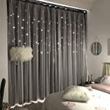 Unistar 2 Panels Stars Blackout Curtains for Bedroom Girls Kids Baby Window Curtain Double Layer Star Cut Out Aesthetic Living Room Decor Wall Home Decorations Curtain,W52 x L84 Inches,Grey