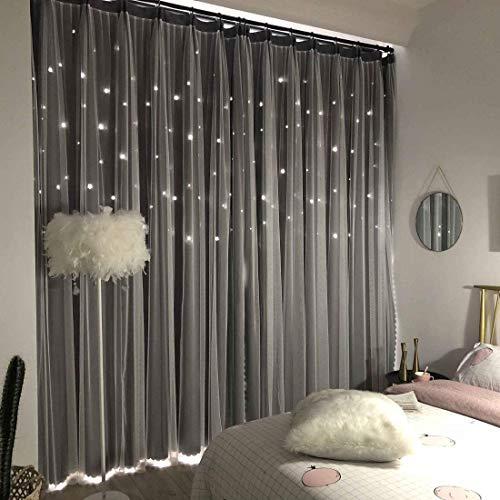 Unistar 2 Panels Stars Blackout Curtains for Bedroom